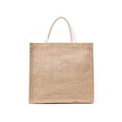 ジュート バッグ 手提げバッグ トートバッグ 350*320*120mm 多機能のポータブルキャンバスバッグ (チョコレートカラー)