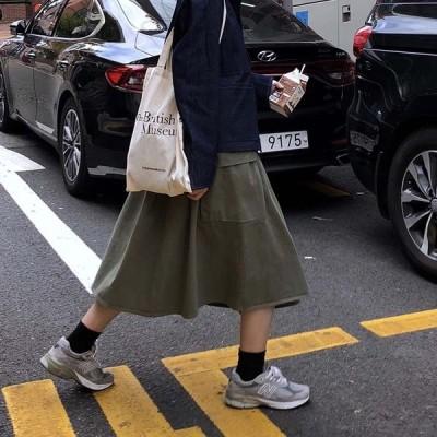 カーゴフレアースカート レディース ボトムス スカート ロング ミモレ 大人 カジュアル 大きいサイズ有 ウエストゴム