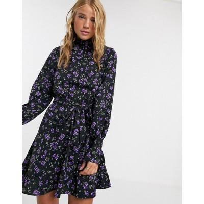 インフルエンス レディース ワンピース トップス Influence high neck tie waist a line dress in floral print