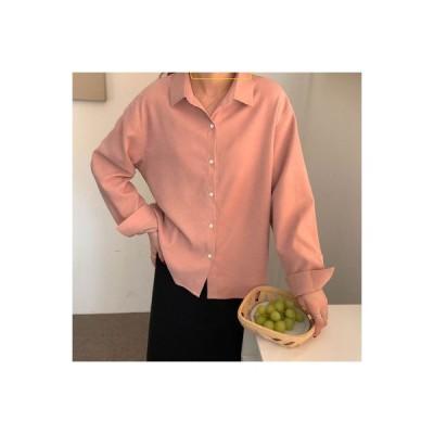 【送料無料】風 単一色 カジュアルシャツ トップス 女 韓国風 冬 長袖 ルース シ   364331_A64311-0949656