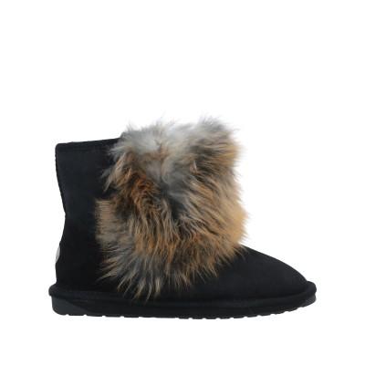 エミュー EMU ショートブーツ ブラック 5 リアルファー 100% ショートブーツ