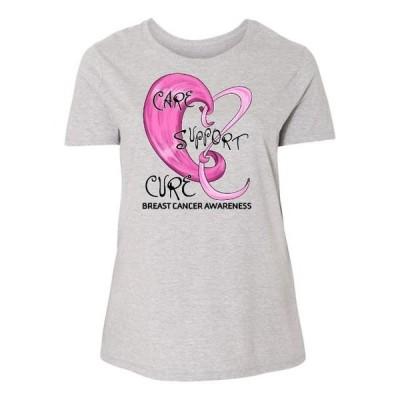 レディース 衣類 トップス Care Support Cure- Breast Cancer Awareness Women's Plus Size T-Shirt Tシャツ