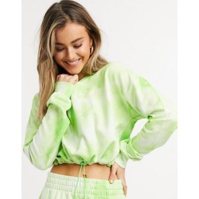 チェルシーペアーズ Chelsea Peers レディース スウェット・トレーナー トップス tie dye cropped drawstring hem sweat in green グリーン