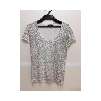 INED INED オフ白×薄グレーアニマル柄半袖Tシャツ サイズ9