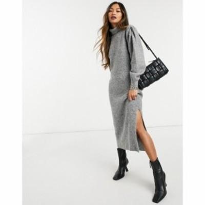 エイソス ASOS DESIGN レディース ワンピース ミドル丈 ワンピース・ドレス Knitted Midi Dress With Puff Shoulder Detail In Grey グレ