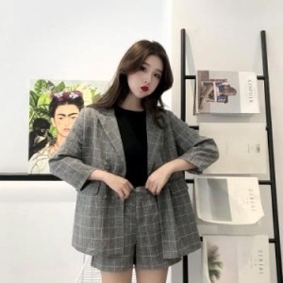 セットアップ ジャケット ショートパンツ チェック レディース ハイウエスト 韓国ファッション コーディネート おしゃれ ゆったり マニッ
