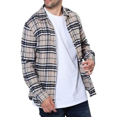 [ジギーズショップ] チェックシャツ メンズ シャツ 長袖 ネルシャツ カジュアル 秋冬 コットン S ベージュ/ホワイト