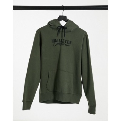ホリスター Hollister メンズ パーカー トップス chest script logo borg lined hoodie in olive オリーブ
