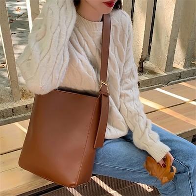 全部お客様のご満足のいただける回答をいただきました韓国ファッション 大容量 ショルダーバッグ トレンド 2020ニュースタイル トレンド ファッション テクスチャ 百掛け バケットバッグ
