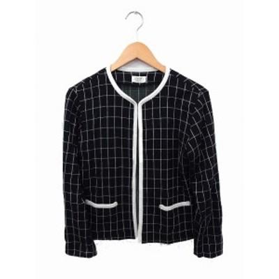 【中古】オプティ OPTI ジャケット アウター チェック ノーカラー 長袖 ウール F ブラック 黒 /FT10 レディース