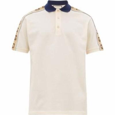 グッチ Gucci メンズ ポロシャツ トップス Logo-tape stretch-cotton pique polo shirt Ivory