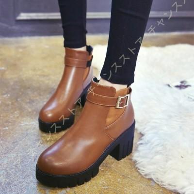 ゴム付き ショートブーツ レディース ストーム ブーツ チャンキーヒール 美脚 ベルト アンクルブーツ 靴 くつ おしゃれ ハイヒール 歩きやすい 痛くない 厚底