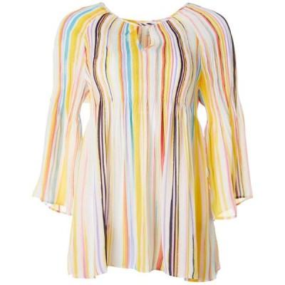 レディース 衣類 トップス Spense Womens Stripe Print Bell Sleeve Keyhole Top ブラウス&シャツ