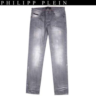 """フィリッププレイン PHILIPP PLEIN メンズ ボトムス デニムパンツ ジーンズ クラッシュ加工・ロゴ入りストレートデニムパンツ """"city cowboy"""" rock diamond 14S"""