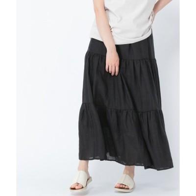 スカート [取扱い店舗限定]リネンティアードロングスカート