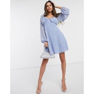ミスガイデッド レディース ワンピース トップス Missguided milkmaid skater dress in blue floral print
