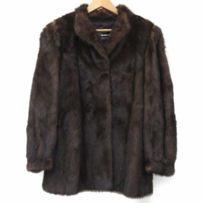 【中古】フィアンセス NANAWA ミンク コート 毛皮 リアルファー ジャケット 11 Lサイズ ブラウン レディース