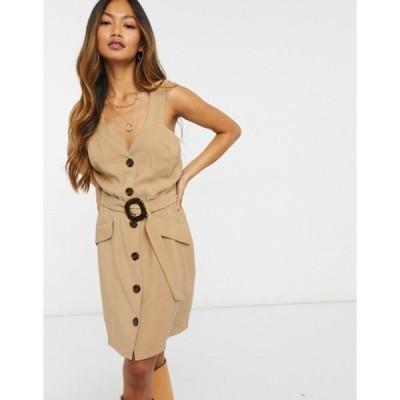 リバーアイランド レディース ワンピース トップス River Island button front jumper mini dress in beige