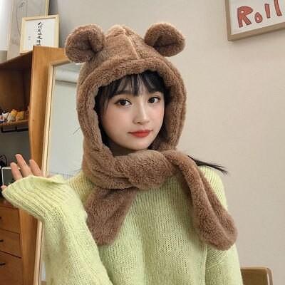 クマ 耳 帽子 女性秋 冬 韓国版 モコモコ マフラー 一体 冬 かわいい 保温 耳保護 帽子 防風