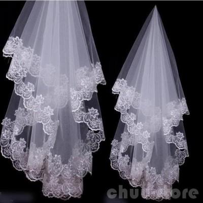 ウエディングベール ベール   ロングベール  ダウンベールレース刺繍1.4mブライダル結婚式ベール花嫁披露宴ウェディング小物 二次会2枚