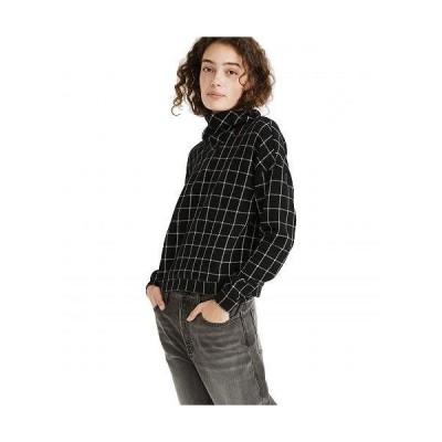 Madewell レディース 女性用 ファッション Tシャツ Textured Turtleneck Top in Windowpane - True Black