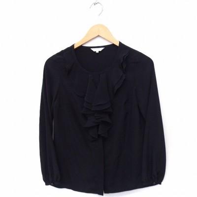 【中古】エムプルミエ M-Premier シャツ ブラウス フリル 無地 長袖 34 ブラック 黒 /FT48 レディース 【ベクトル 古着】