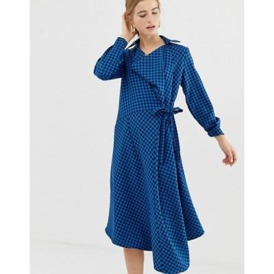 エイソス レディース ワンピース トップス ASOS WHITE midi wrap dress in check print