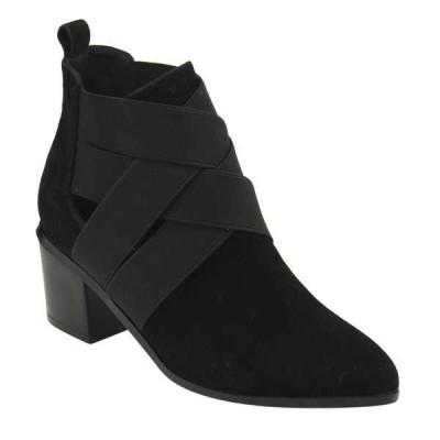 ブーツ シューズ 靴 アテナ ATHENA レディース Elastic Criss クロス ストラップpy Chunky Stacked ヒール アンクルブーティー ブラック BLACK
