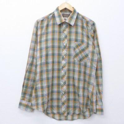 古着 長袖 シャツ 80年代 80s オレンジ他 チェック Mサイズ 中古 メンズ トップス シャツ トップス 古着