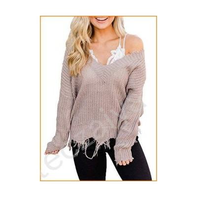 LEANI Women's Loose Knitted Sweater Long Sleeve V-Neck Ripped Pullover Sweaters Crop Top Knit Jumper並行輸入品
