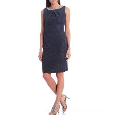 マリナ レディース ワンピース トップス Sleeveless Pleat Neck Glitter Stretch Knit Sheath Dress