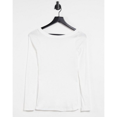 リバーアイランド River Island レディース 長袖Tシャツ トップス Long Sleeved Boat Neck T-Shirt In White ホワイト