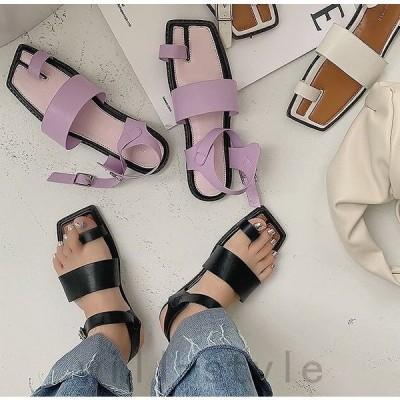 タビ足袋ストラップサンダルぺたんこミュールトングサムループ韓国オルチャンストリート原宿系スクエアトゥ靴シューズ