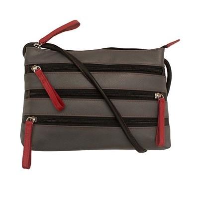 ILI アメリカ 日本未発売 Leather Zipper Cross-body Handbag (Gray/Red/Black)