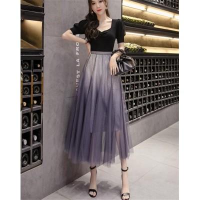 《SIZE改善 品質向上》    韓国ファッション 2020年夏 エレガント 新作 チュールスカート 百掛け カラーマッチング 大きい裾 オシャレ デザインセンス 気質  Aラインスカート 大人気