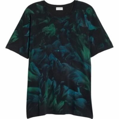 イヴ サンローラン SAINT LAURENT メンズ Tシャツ トップス Tie Dye Logo T-Shirt Noir/Vert/Vert