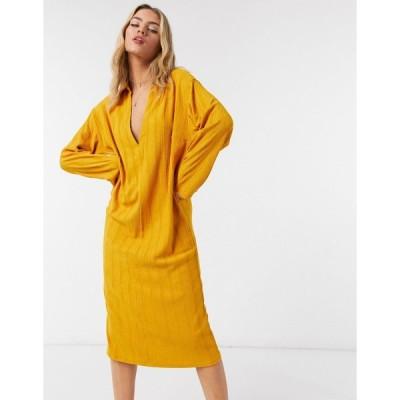 フリーピープル ミディドレス レディース Free People Aster collar midi dress in yellow  エイソス ASOS sale ゴールド 金