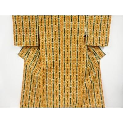 リサイクル 縞に花模様織り出し十日町紬着物