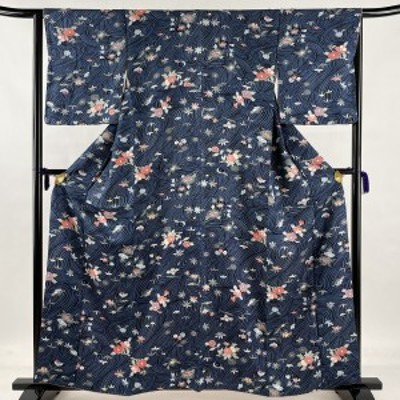 小紋 美品 優品 流水 草花 藍色 袷 身丈160cm 裄丈65cm M 正絹 中古