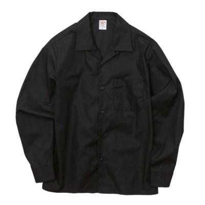長袖 シャツ メンズ オープンカラー T/Cツイル L サイズ ブラック 無地 ユナイテッドアスレ CAB