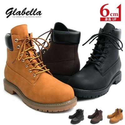 シークレットシューズ シークレットブーツ メンズ 背が高くなる靴 6cm ワークブーツ 紐靴 黒 グラベラ glabella