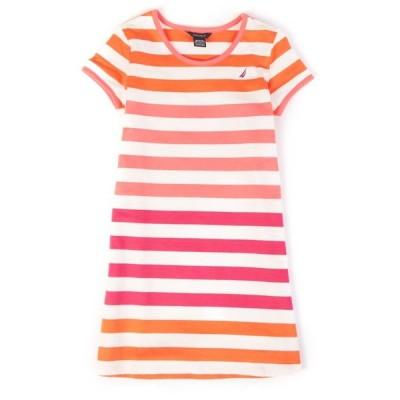 トップス シャツ Tシャツ ノーティカ Nautica リトル ガールズ ストライプd Tシャツ ドレス (2T-7)Red