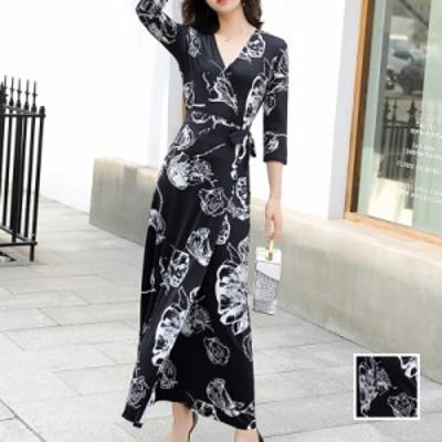 リゾートワンピース ワンピース リゾート 韓国 ファッション  春 夏 新作 カジュアル naloK228  モノトーン カシュクール風 ラップ マキ