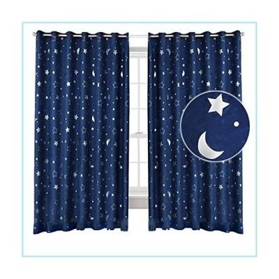 新品Silver Star Print Blackout Curtains, Thick Thermal Insulated with Rod Pocket Top Window Drapes for Bedroom Kids Room/Baby Nursery,Navy