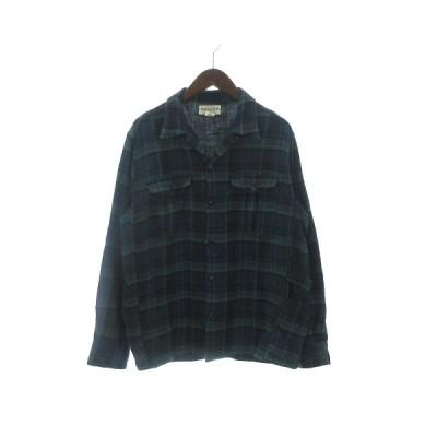 【中古】SASSAFRAS GARDENER OPEN HALF チェックシャツ 長袖 SF-191531 オープンカラー フランネル コットン M 緑 グリーン メンズ 【ベクトル 古着】