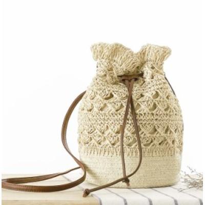 かごバッグ ショルダー ショルダーバッグ レディース 鞄 カバン 巾着風 絞りデザイン 透かし 大人可愛い ナチュラル カジュアル シンプル