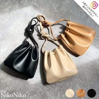 ShopNikoNiko レザー調巾着バッグ 鞄 バッグ シンプル レザー調 巾着 ショルダー 無地 レディース Instagram ブラック フリー レディース