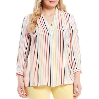 インベストメンツ レディース シャツ トップス Plus Size 3/4 Sleeve Stripe Button Front Top Spring Stripe