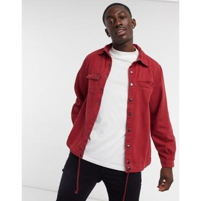 リキュールアンドポーカー メンズ シャツ トップス Liquor N Poker overshirt in washed red