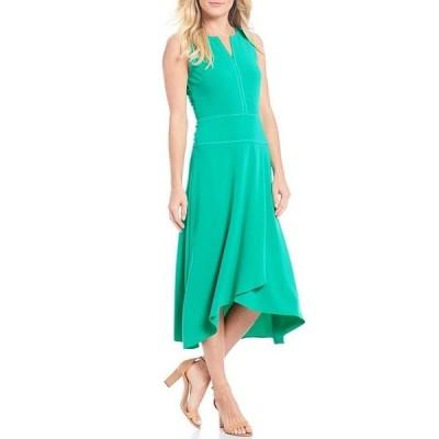 ドナモーガン レディース ワンピース トップス Meera Split V-Neck Crepe Faux Wrap Skirt Midi Dress
